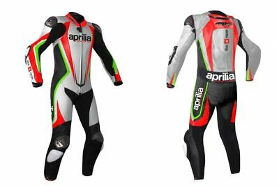 Aprilia Red/silver  Motorbike Racing Leather Suit Ce Approved