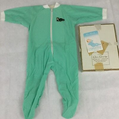 Vintage Green Footed Pajamas Size Large Turtle Brushed Knit Zipper Closure
