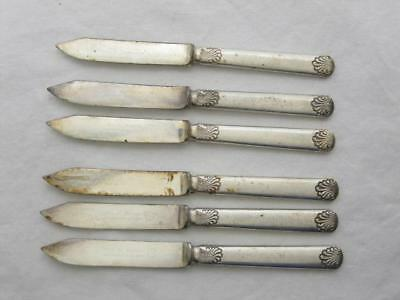 Shell / One Pattern Wm H Rogers Small Fruit Knives Silver Plated Set Old Vtg