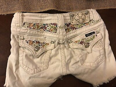 Miss Me Girls' White Floral Shorts Size 14
