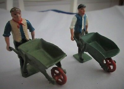 Antique,Vintage,cast metal,lead,Toys,BRITAINS,2 FARMERS WITH WHEELBARROW,NICE!