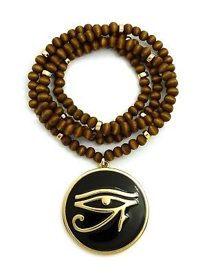 "Egypt God Eye of Horus Pendant 6mm 30"" Wooden Bead Hip Hop Necklace RC2849G-WBN"