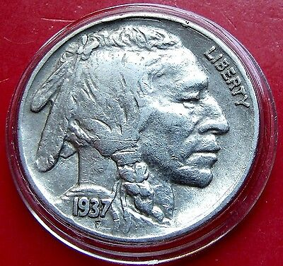 XF -  AU  1937 UsA Buffalo Nickel, Excellent Details with nice Holder. Full Horn