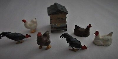 Antique,Vintage,cast metal,lead,Toys,MADE IN ENGLAND,Britains,?,chickens,rooster