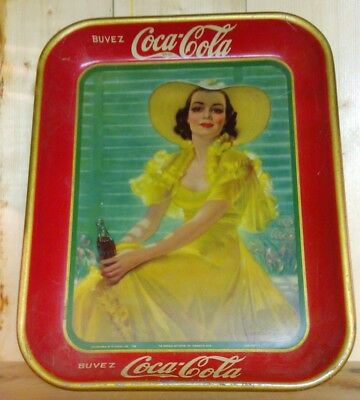 2 Coca Cola french trays cabarets one dated 1938 tin not tobacco beverage