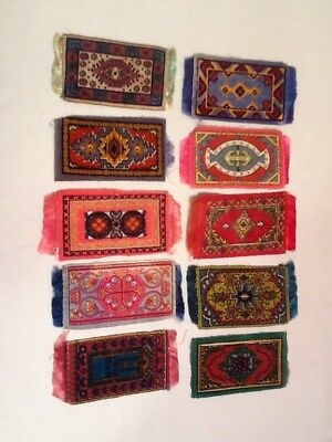 "Antique Cigarette Tobacco Advertising Felt Rugs Dollhouse 2"" By 4"" Lot 10"