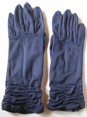 VINTAGE GLOVES by LADICAPE, Navy ruched, wrist length, size approx. 7