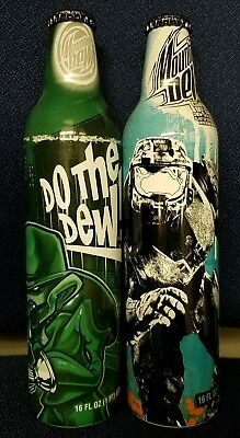Halo 3 Mountain Dew Game Fuel and Green Art Unopened Aluminum Bottles