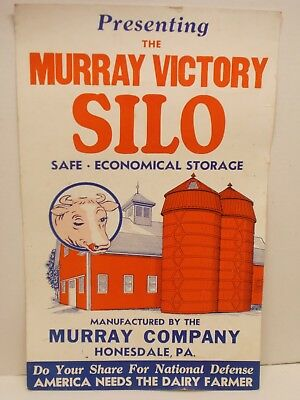 Vintage Cardboard Poster for Murray-Built Silos of Honesdale, PA~Circa 40s