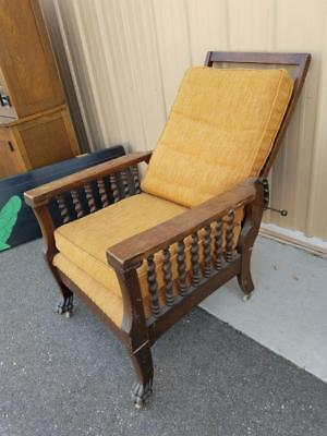 Antique Early Recliner Jacobean Oak Wood Quarter Sawn LOCAL PICKUP ONLY Vintage
