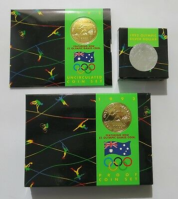 Royal Australian Mint 1992 Olympics Proof/Uncirculated Coin Sets + Silver Dollar
