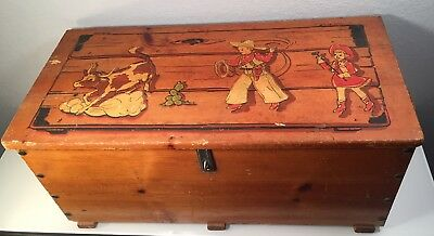 Vintage Cowboy & Cowgirl Western Toy Box Wood Frontier Chest Trunk Rope Handles