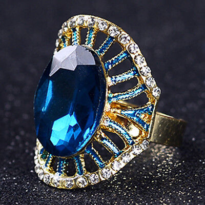 Gold-Plated Ring Hand-carved Inlaid Rhinestones & Blue Zircon J1134
