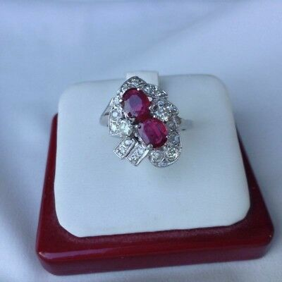 VINTAGE 2.60ct No heat Natrual Ruby and Diamond 14K Ring