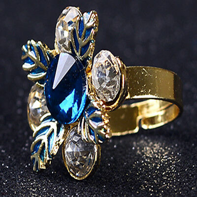 Gold-Plated Ring Hand-carved Inlaid Rhinestones & Zircon J1133