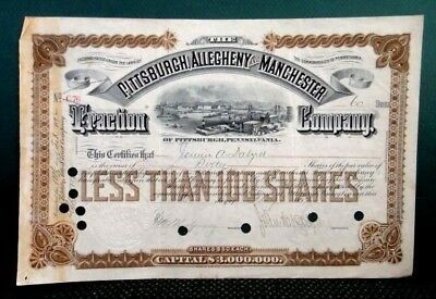 1894 antique PITTSBURGH,ALLEGHENY,MANCHESTER TRACTION CO pa trolley STOCK CERT.