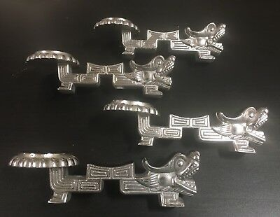 Vintage Rare Heavy Chinese Nickel Silver Dragon Spoon Rest Set Of 4