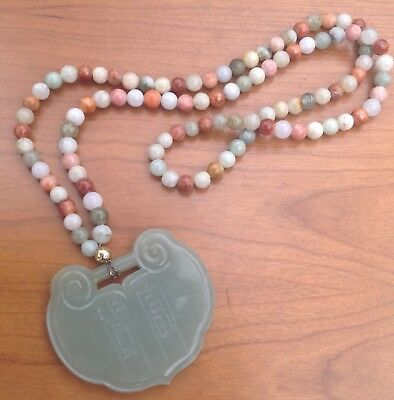 Chinese Jade Lock Pendant Multi Colored Bead Necklace Estate Find Vintage