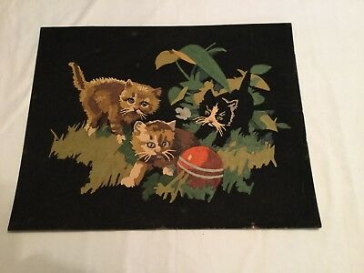 """Three Kittens"" PAINT BY NUMBER ON BLACK VELVET/VINTAGE/COLLECTIBLE"