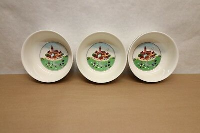 "3 Villeroy & Boch Design Naif 5"" Soup Cereal Bowls Country Scenes"
