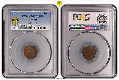 Sweden 1879 1 Ore Graded Slabbed PCGS MS62BN Uncirculated #0784