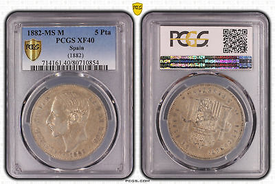 Spain 1882-MS M 5 Pesetas  PCGS Graded Slabbed XF40 Extremely Fine #0854