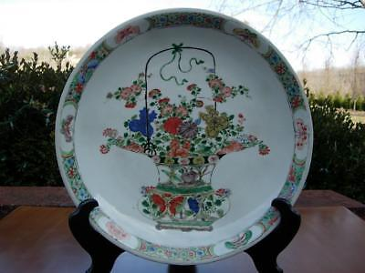 A Large Antique Chinese Famille Verte Porcelain Charger W Basket Of Flowers
