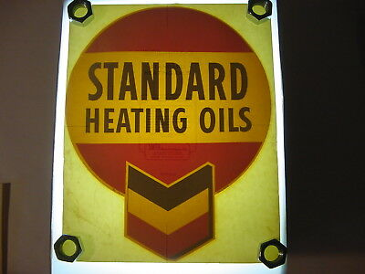 "Vintage NOS Original Chevron /Standard Heating Oil 12"" Water Transfer Decal Sign"