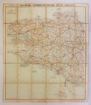 """early 1900s antique LINEN BACKED PARIS FRANCE foldout MAP car cyclists 32.5""""x28"""""""