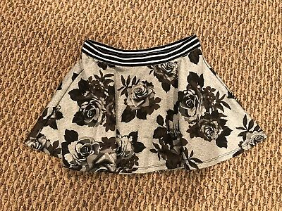 GIRLS SIZE 10 JUSTICE  Gray/Black Floral Skirt w/ Built-In Shorts, Elastic Waist