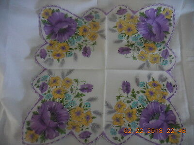 VTG Scalloped Extra Large DAFFODIL & LAVENDER FLOWERS Handkerchief Hanky Cotton