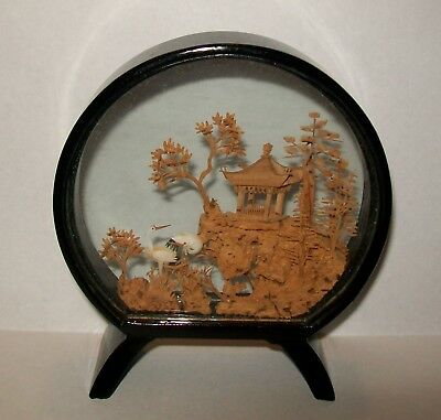 SMALL VINTAGE HAND CRAFTED ORIENTAL CORK CARVING BLACK LACQUER FRAME 11cm