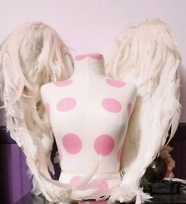 "Victoria Secret Angel Wings ""authentic"" Display ~ White And Pink With Rhinestone"