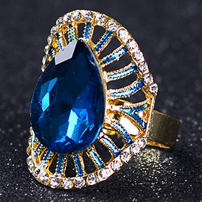 Gold-Plated Ring Hand-carved Inlaid Rhinestones & Blue Zircon J1135