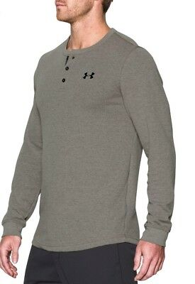 Under Armour Mens M Waffle Henley Carbon Cold Gear Gray LS Shirt 1281316-090