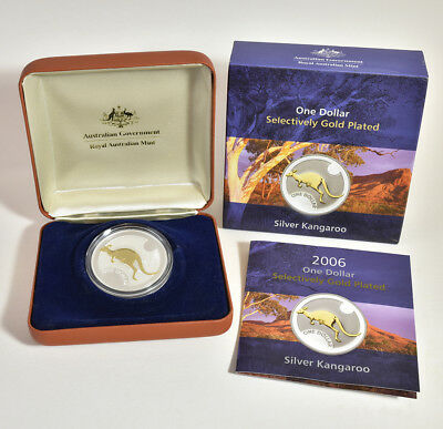 2006 $1 Fine Silver kangaroo Gold Plated Proof Coin - 1 oz silver