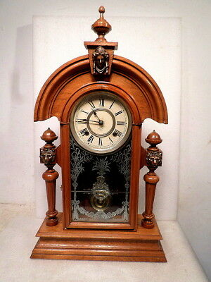 Ansonia Black Walnut 'King' Parlor Clock Circa 1890