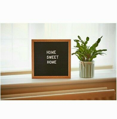 Black Felt Letter Board 10x10 Inches. Changeable Boards Include 300 White & Oak