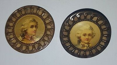 2 Antique Brass Buttons With Lithograph  Portraits  C 1900 Vgc