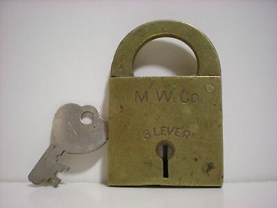 Antique old vintage M.W. Co. 3 lever padlock all brass with original flat key