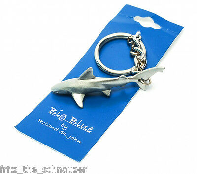 PEWTER KEYCHAIN GREAT WHITE SHARK REEF KEY RING scuba diver gift collectible