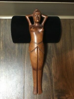 Rare 1930s? Nude Philippines Breast Nut Cracker Wood Carved Art