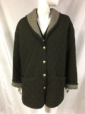 ESCADA 2 PC Green Wool Knit Quilted Shawl Collar Coat/Jacket Size 38+Vest Sz 42