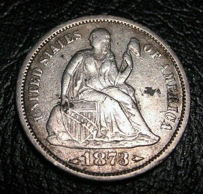 Old Us Coins 1873 Liberty Seated Half Dime Nice !