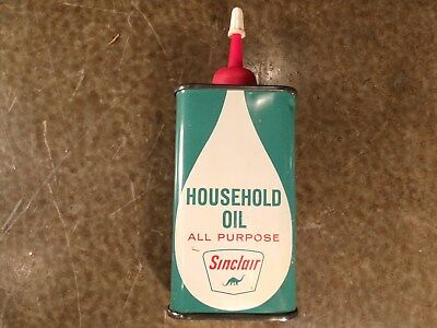 Vintage Original SEALED Sinclair 4 ounce Household Oil Oiler NICE Full Never Cut
