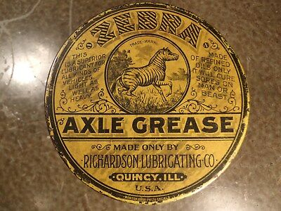 ZEBRA AXLE GREASE Richardson Lubricating Quincy Illinois CAN Cures Man or Beast!