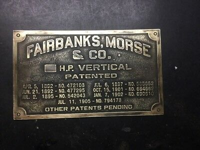 NEW Fairbanks Morse Vertical Brass Tag Antique Gas Engine Hit Miss