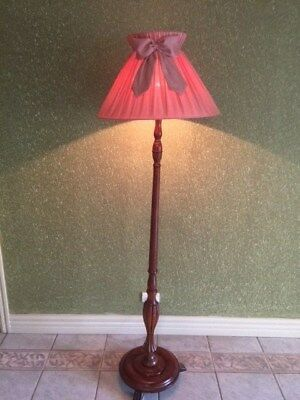 Antique Vintage Timber Floor Standing Lamp with Dusty Pink Shade