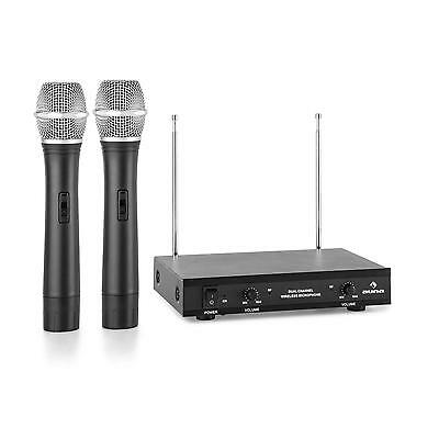 Wireless Microphone Studio Set VHF 2x Hand 50m Range Dual 2 Channel Receiver