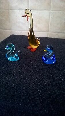 Glass Ornaments Large Amber Colored Duck And Two Blue Ducks